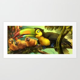 Toucan and Sun Conures : Jungle berries animal art painting birds feathers rain forest conservation Art Print