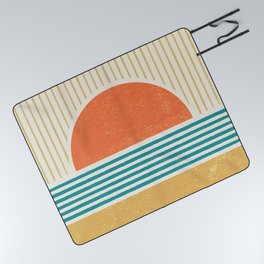 Sun Beach Stripes - Mid Century Modern Abstract Picnic Blanket