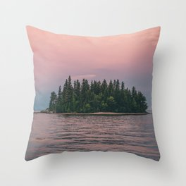 Lonely Island on Lac Saint-Jean Throw Pillow