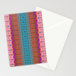 Glowing Coral, Magenta and Turquoise Zag Honeycomb Modern Stripes Stationery Cards