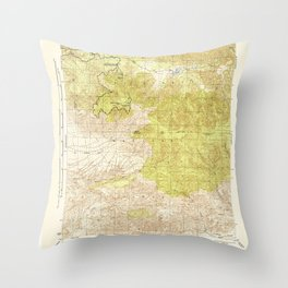Sawmill Mountain, CA from 1944 Vintage Map - High Quality Throw Pillow