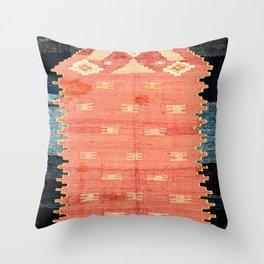 South West Anatolia  Antique Turkish Niche Kilim Print Throw Pillow