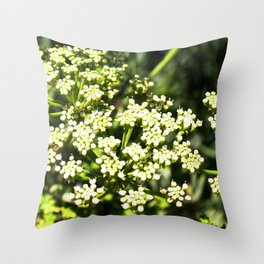 Succulent White and Green Flowers Throw Pillow