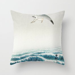Seagulls over a stormy sea - Vintage Japanese Woodblock Print Art Throw Pillow