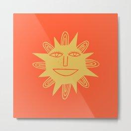 Cheerful Happy Sunshine Numero 3 Red Metal Print