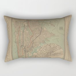 Pleasants Finder Map Street guide of Manhattan and the Bronx Rectangular Pillow
