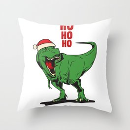 Santasaurus  Rex, Ho Ho Ho  Christmas Trex Dinosaur Throw Pillow