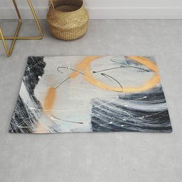 Midnight Time Lapse: a minimal, abstract mixed-media piece by Alyssa Hamilton Art in Gold, Black Rug