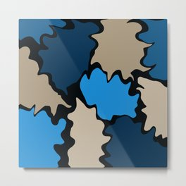Funky Shapes Mosaic in Blue and Tan Metal Print