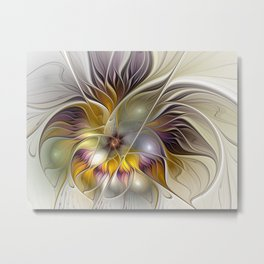 Abstract Fantasy Flower Fractal Art Metal Print
