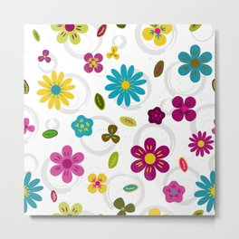 Cheerful colored flowers on doodle watercolor background Metal Print