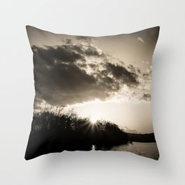 Sundown At Lake Heve sepia Throw Pillow