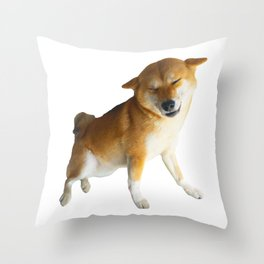 Lilly the Shiba Inu Smiling Airplane Ears Throw Pillow