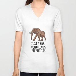 Just a Girl Who Loves Elephants Unisex V-Neck