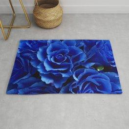 Blue Roses Flowers Plant Romance Rug