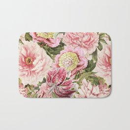 Vintage & Shabby Chic Floral Peony & Lily Flowers Watercolor Pattern Bath Mat