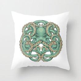 Octopus Emblem Green Throw Pillow