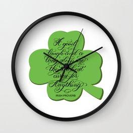 St. Patrick's Day Shamrock Irish Proverb Wall Clock