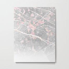 Pastel Pink & Grey Marble - Ombre Metal Print