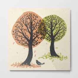 Autumn Is For The Birds Stamped Linocut Metal Print