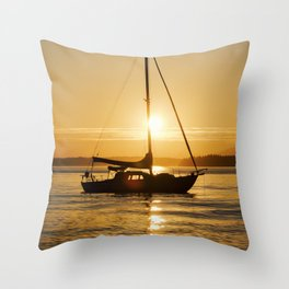 Sunset Serene Sailboat Throw Pillow