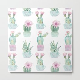Simply Echeveria Cactus in Pastel Cactus Green and Pink Metal Print