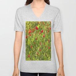 Surreal Hypnotic Poppies Unisex V-Neck