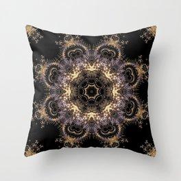 Purple and Gold Fractal Kaleidoscope 2 Throw Pillow