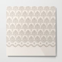 """Damask """"Cafe au Lait"""" Chenille with Lacy Edge Metal Print"""