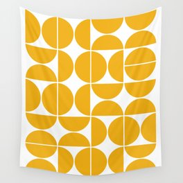 Mid Century Modern Geometric 04 Yellow Wall Tapestry