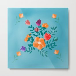 Classic floral with blue background Metal Print