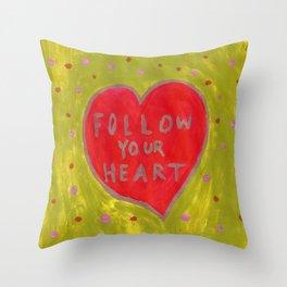 Follow Your Heart- Green, Pink, Red Throw Pillow