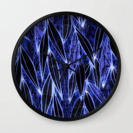 Blue Bamboo Night Print Wall Clock