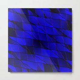 Mirrored gradient shards of curved blue intersecting ribbons and horizontal lines. Metal Print