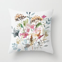 Watercolor Garden Abstract Throw Pillow