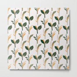 Mid Century Modern - Tropical Palm Leaves Pattern Metal Print