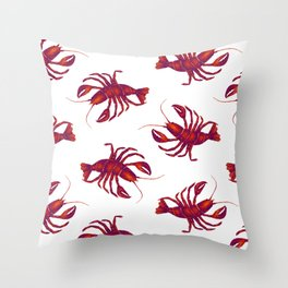 Le Lobster Rouge Throw Pillow