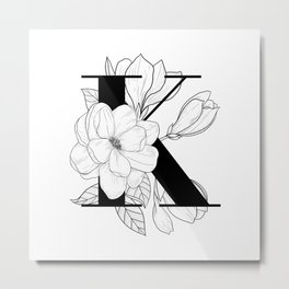 Monogram Letter K with Magnolia Line Art  Metal Print
