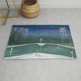 True Romance - Moonlight Dance by the Dogwood Trees portrait by Marguerite Blasinggame Rug