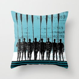 Rowing Crew in Black & Blue Throw Pillow