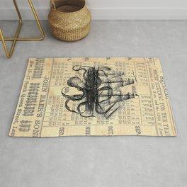 Octopus Kraken attacking Ship Antique Almanac Paper Rug