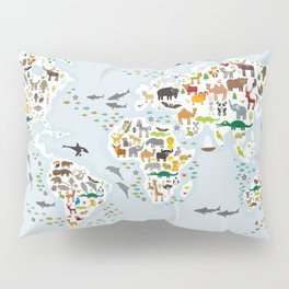 Cartoon animal world map for children and kids, Animals from all over the world, back to school Pillow Sham