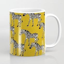 Zebra - zebra pattern, yellow, golden yellow, ochre, animals, nature, safari, zebra design, zebra curtains, zebra wall,  Coffee Mug