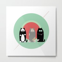 Martini Cats Metal Print