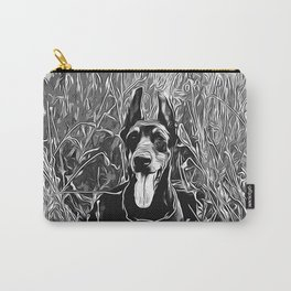 doberman dog red flowers meadow vector art black white Carry-All Pouch