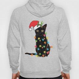 Santa Black Cat Tangled Up In Lights Christmas Santa Graphic Hoodie