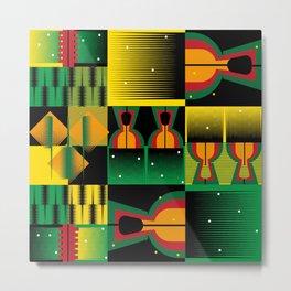 Kente Inspired Comb Illustration Metal Print