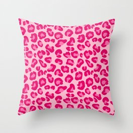 Leopard Print in Pastel Pink, Hot Pink and Fuchsia Throw Pillow