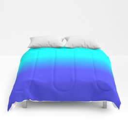 Neon Blue and Bright Neon Aqua Ombré Shade Color Fade Comforters