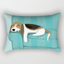 Happy Couch Beagle | Cute Sleeping Dog Rectangular Pillow